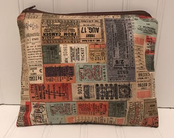 Vintage Train Ticket Pouch |Handmade Zipper Pouch