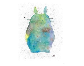 Watercolor Totoro Print