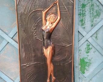 Soviet Vintage copper picture ballerina,Soviet ballet,vintage 3D picture,Metal Wall Art,Soviet wall decor,SSSR 1980s,coinage,copper chasing
