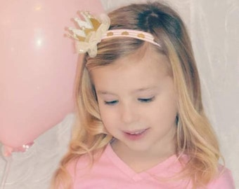 First Birthday Crown Headband - Princess Birthday Photo Prop - Gold Crown Head Band - Gold Heart Headband - Gold Glitter Crown Headband