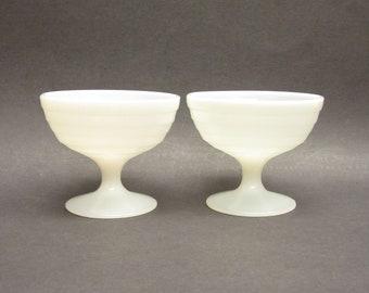 Vintage Milk Glass Pedestal Sherbet Glasses, Set of 2 (E10591)