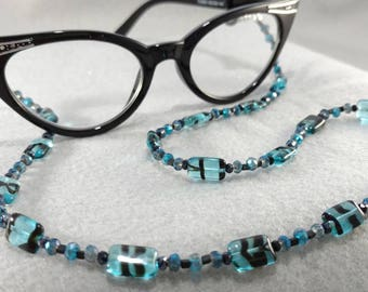 Black and Blue One of a Kind Eyeglasses/Reading Glasses Chain