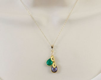Birthstone Necklace, Personalized Necklace, Gold Initial Necklace, Mothers Necklace, Grandmother Necklace, Family Necklace, Mom Gift, sister