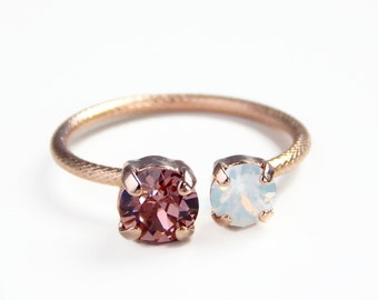 Rose gold crystal ring - open crystal ring - blush crystal and white opal ring - Swarovski crystal