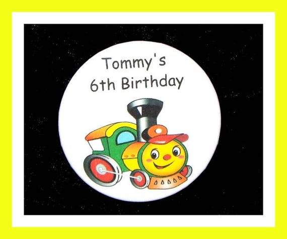 Birthday Party Favors, Personalized Button,Train Pin Favor,School Favors,Kids Party Favor,Boy Birthday,Girl Birthday,Pin,Favor Tag Set of 10