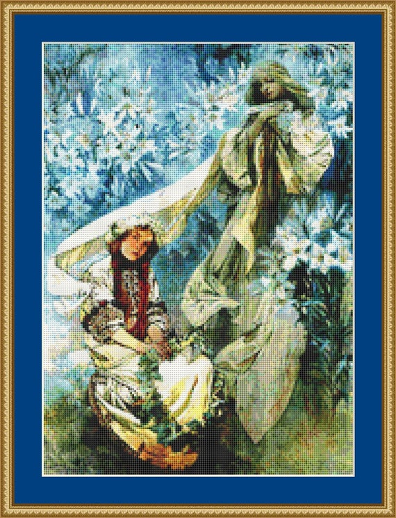 Madonna In The Lilies Cross Stitch Pattern /Digital PDF Files /Instant downloadable