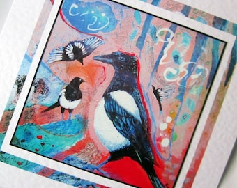 Blank greeting card Magpies fine art print from original painting by Bee Skelton for any occasion birthday anniversary thank you