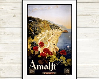 Italy travel posters, vintage travel posters, Amalfi coast posters, Italy art prints, Italy wall art, Italy posters, Amalfi poster art print
