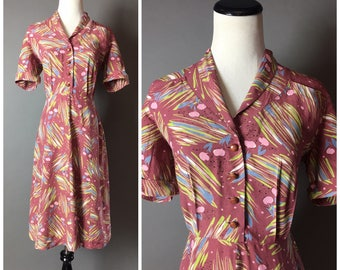 Vintage 40s dress / 1940s dress / novelty print dress / floral dress / day dress /   8122