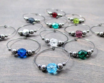wedding wine charm - 24 crystal colors - wedding wine glass charm - wedding party favors - wedding wine favor - gunmetal wedding wine charms