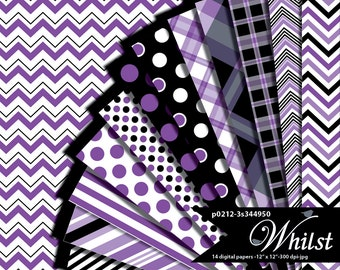 Purple and Black Digital Paper Halloween in Plaid, Polka Dot, Stripe, and Chevron : p0212 3s344950C