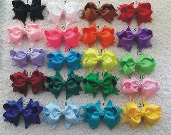 5% off!  20pcs/lot 4 inch Big hair bow - Girl hair bow Toddler hair bows  boutique bows Grosgrain ribbon hairbow  30 Colors U pick color H1