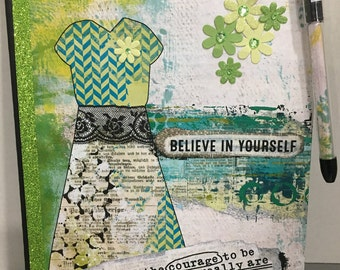 Find the Courage - Altered Composition Notebook / Journal