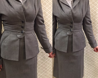 """1940s/ Hyde Park Drum Skirt with Fitted Jacket/Fitted Jacket/Tuck 26"""" waist/rebellespdx"""
