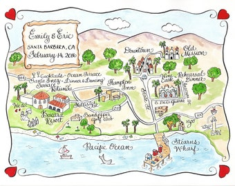 Custom Wedding Map - Santa Barbara, CA - Hand Drawn Wedding Map-Watercolor Map