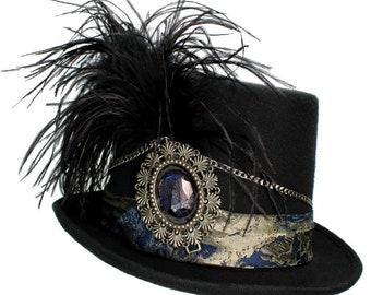 Black Wool Top Hat Silver Buccaneer Gothic Steampunk Traveler Mens Cosplay Blue