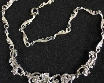 Vintage  Circa 40/50's Marcasite Necklace Silvertone