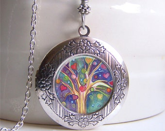 Locket Necklace, Tree Of Life Locket, Silver Photo Locket, Tree Jewelry