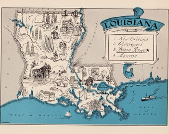 30's Vintage LOUISIANA Picture Map Pictorial State Cartoon Map Print Gallery Wall Art Decor Map Collector Gift for Wedding  Birthday