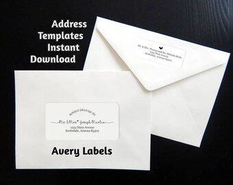 "Printable Address Template for Envelope Labels - Avery 2 x 4"" & 1 x 2-5/8"" - Wedding, Christmas, etc. - Instant Download Digital File PDF"