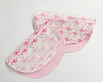 Burp Cloths for Girl - Flannel Burp Cloths - Flamingo Baby - Contoured Burp Cloth -Baby Burp Rags - Baby Girl Gift - Baby Burp Clothes