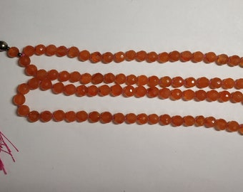 Natural Caroline 108 Faceted Round Balls Strand  width:- 6.5 mm  Hand Knotted Necklace  Meditation Prayer Yoga Mala