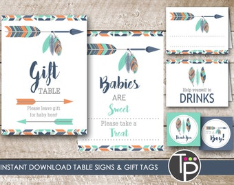 TRIBAL Baby Shower Table Signs, Gift Table Sign, Printable Baby Shower Table Signs, Navy Orange Teal TRIBAL ARROW Baby Shower - 0100