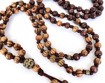 Wooden Mala Necklace, Olive wood Long Necklace, Meditation Knotted Necklace, Yoga Mala, 108 Mala Beads, Mens Mala Necklace, Japa mala