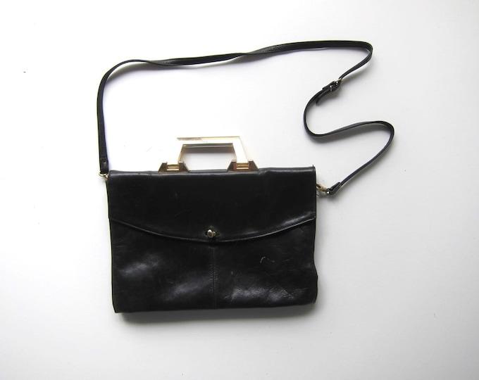 60s Black Leather Handbag Shoulder Purse with Gold Handle Mod 1960s Vintage Portfolio Bag Crossbody Bag Briefcase