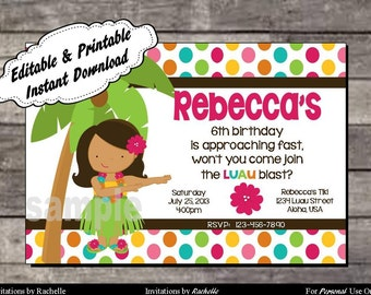 Luau Invitation Birthday Party - Editable Printable Digital File with Instant Download