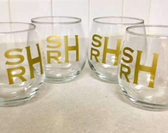 Wine Glasses Personalized Set of 4