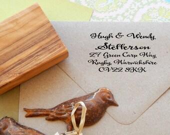 Handwritten Font  Return Address Olive Wood Stamp