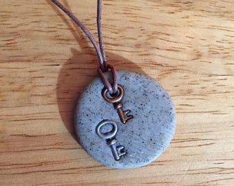 Skeleton keys on stone necklace
