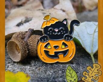 Halloween Pumpkin Cat enamel lapel pin