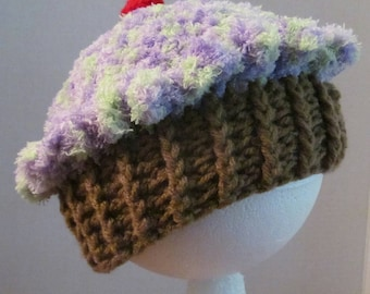 Crochet Cupcake Hat ~ Size XSM ~ Green and Purple top with Medium Brown bottom