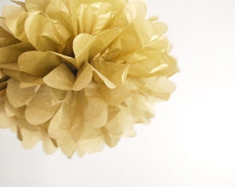 paper pom pom: gold tissue paper pom pom party decor, nursery decor, cake smash