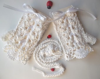 Girl Cotton Gloves plus Headband Crocheted Ready To Ship Victorian Fingerless Summer Children Lace Evening Hand Knitted White Corset CB2