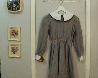 1970s striped babydoll dress with large collar
