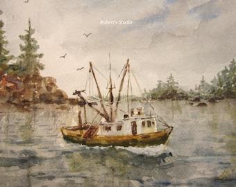 Fine Art Print of original watercolor landscape painting, seascape print, fishing boat painting, watercolor art, nautical art