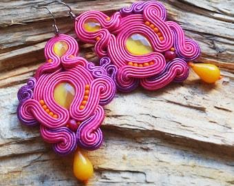 Large fuchsia ink earring Pink yellow soutache earrings Lightweight comfortable party earrings Costume jewellery Gift for boho chic girl UK