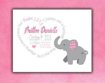 Elephant, Personalized Birth Print, Baby Birth Print, Custom Birth Print, Birth Announcement Boy, Girl, Gift, Baby Gift