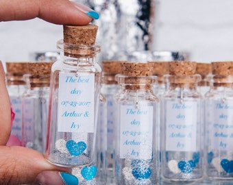 Personalized mini glass bottle favors for wedding Blue and white wedding theme Navy wedding favor Bridal shower favors Classic wedding favor
