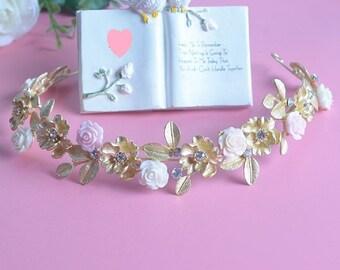Gold Leaf Crown Wedding Crown Bridal Flower Crown Greek Goddess Crown Vintage Bridal Headband Gold Bridal Tiara Roman Crown Vintage Tiara