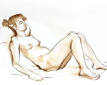 Pen and Ink Figure Drawing  Female Nude Sepia Toned Original Wall Art, Brown Walnut Ink Line Drawing,  Neutral Wall Decor, Cameron Reclining