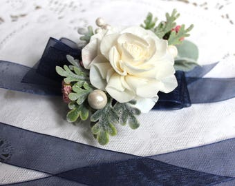 Sola Flower Corsage, Wrist Corsage, Wedding Corage, Navy Blue and Pink Wedding, Wedding Flowers