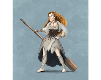 Selkie Girl Seal Art Print Digital Painting