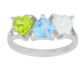 Opal Blue Topaz Peridot Heart Ring .925 Sterling Silver