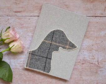 Sausage dog notebook | Dachshund Journal with tweed Dachshund silhouette detail | Dachshund Gift | Dachshund owner gift | Sausage Dog
