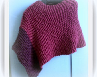 SWEATER WOMANS KNITTED Poncho Color Blocked Asymmetrical Pink Bulky Hand Knitted Acrylic Wool
