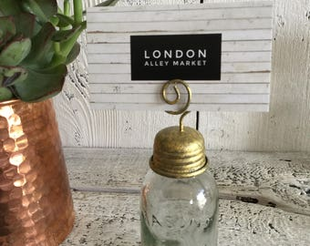 Mason Jar Place Card Holder, Barn Style, Farm Style, Country Style, Wedding Center Piece